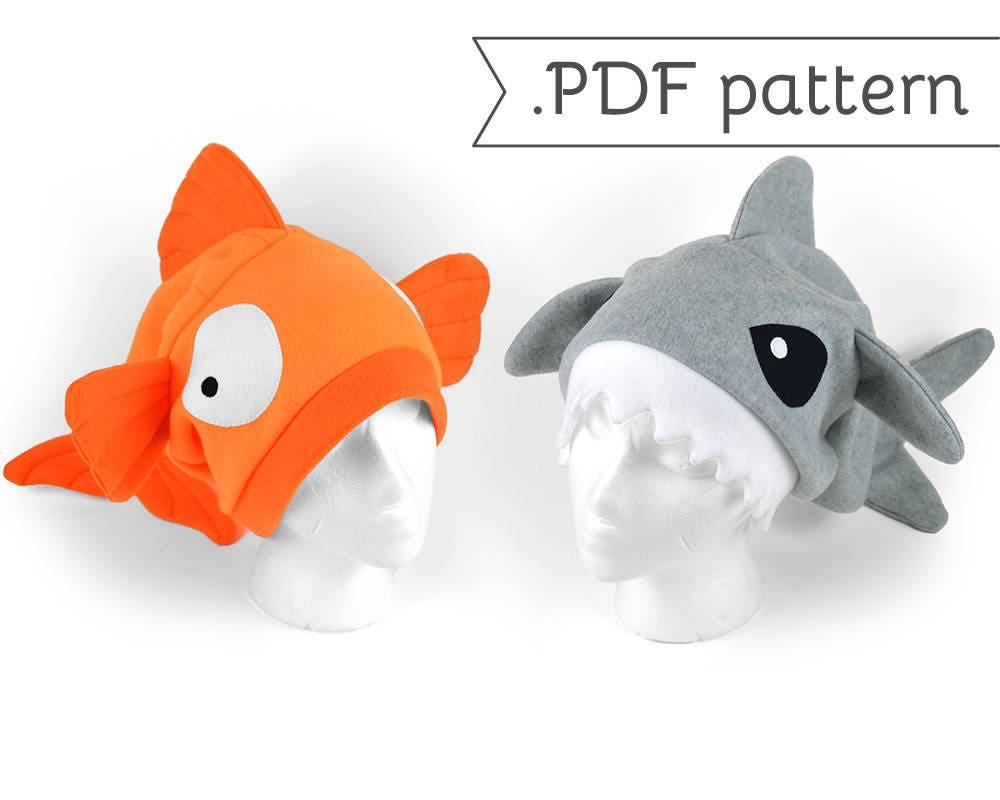 Sew desu ne by cholyknight on etsy slouchy fleece fish hat sewing pattern pdf goldfish shark betta koi carp jeuxipadfo Image collections