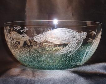 Turtle Art, Ocean art, Glass Ocean Art, Ocean Etching,  Beach Decore, Deep Sea Images, Turtle Bowl, Glass Turtles, Wedding Gift,