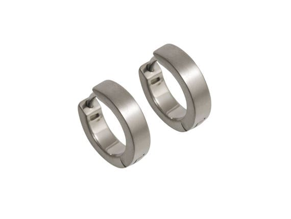 Flat Hoop Cuff Titanium Earrings, 100% Hypoallergenic, Sensitive ear