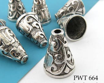 21mm Large Pewter Fluted Cone Bead Caps, Antique Silver (PWT 664) 6pcs BlueEchoBeads