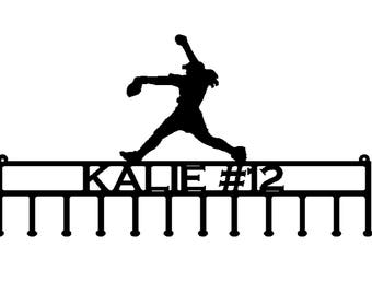 Softball Pitcher Medal or Ribbon Holder with Personalized Text Field (s22)