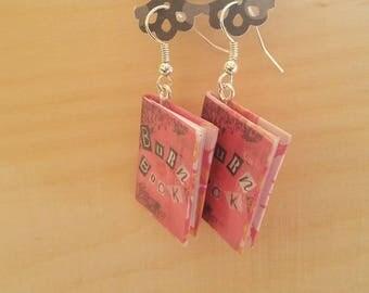 Burn Book Earrings - Handmade Burn Book Jewelry - Handmade Mean Girls Book Earrings - Mini Burn Book Jewelry - Handmade Mini Book Earrings
