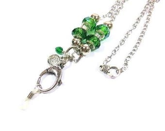 Eye Glass ID Badge Lanyard. Celtic, Green, Silver Chain