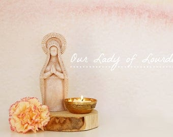 Our Lady of Lourdes - Virgin Mary Shrine Prayer Altar Statue, Mother Goddess, Meditation Space, Mother Mary, Fertility Goddess
