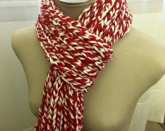 Chunky Ribbed Knitted Scarf-Team Spirit- Red and White