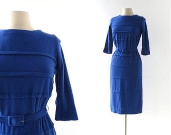 20% off sale 60s Vintage Dress | Sapphire Blue Dress | 1960s Dress | Knit Dress | XS S