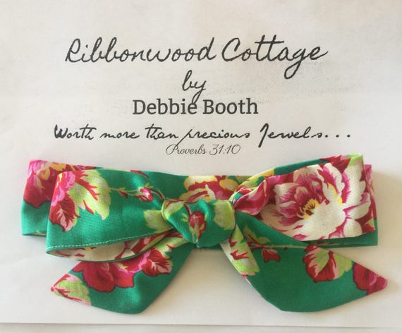 Baby Headwrap Beautiful Jade and Dark Pink Roses Floral