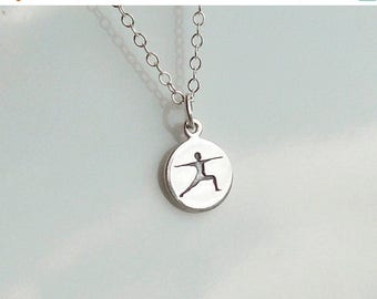 SPRING SALE Warrior Pose Necklace, Sterling Silver Charm, Sterling Charm Necklace, Yoga Jewelry, Warrior Necklace, Yoga Pose Jewelry, Yoga G
