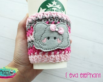 Animal Crochet Coffee Sleeve { Eva Elephant } gray, pink, cup cozy, knit mug sweater, starbucks gift, frappuccino holder