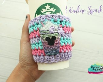 Coffee Cup cozy { Ombre Sparkle } Minnie frappe, pink glitter, Summer Coffee frappuccino sleeve, stocking stuffer, birthday gift, rose gold