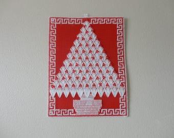 VINTAGE needlepoint CHRISTMAS TREE wall hanging
