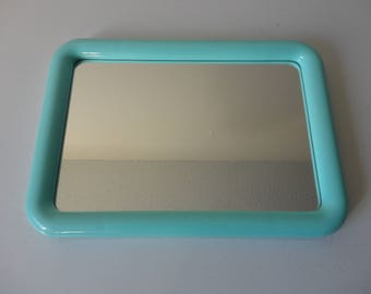 VINTAGE 1982 mint aqua green plastic framed WALL MIRROR