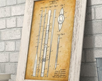 Boat Oar - 11x14 Unframed Patent Print - Great for Cabin/Lake House Decor