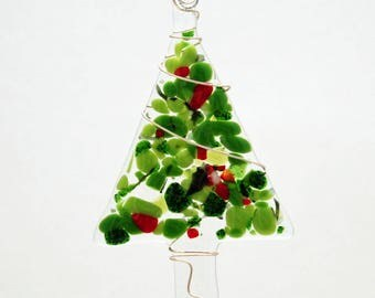 Glassworks Northwest - Red and Green Festive Tree - Fused Glass Ornament