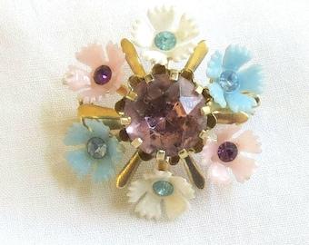 Vintage Rhinestones with Plastic Flowers Pin
