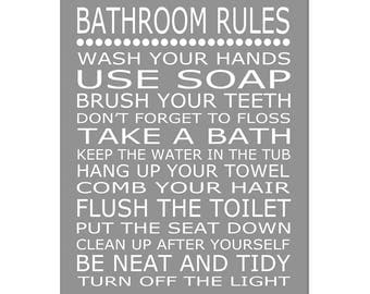 Kids Bathroom Decor Kids Bathroom Rules Sign - Bathroom Decor Kids Bathroom Art Kids Bathroom Wall Art Brush Wash Flush - CHOOSE YOUR COLORS