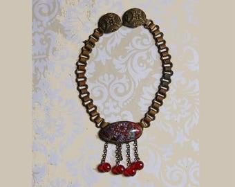 Antique Sweater Guard- Cloak Clip- Beaded Center Cloisonne- Book Chain- Antique Estate Jewelry- Chatelaine