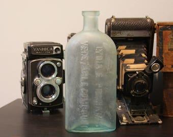Vintage Bottle- Lydia E. Pinkham Vegetable Compound- Seafoam Green BOTTLE Apothecary Medicine- Rustic Home Decor R35