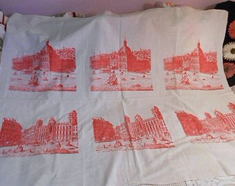 6 TURKEY RED TOILE Panels on Off White Cotton Fabric Buildings Coaches Boats People River Curtain Clothing Quilt Blocks Pillow 40 x 50