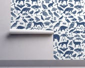Animal Wallpaper - Navy Blue Animals Nursery Baby By Andrea Lauren - Custom Printed Removable Self Adhesive Wallpaper Roll by Spoonflower