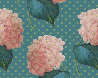 Pink Hydrangea Fabric - Hydrangea On Blue By Chantal Pare - Floral Cottage Chic Home Decor Cotton Fabric By The Yard With Spoonflower