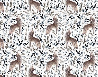 """Wolf Fabric - 3"""" In The Wild Wolf Foliage White By Shopcabin - Baby Boy Wolfpack Baby Nursery Cotton Fabric By The Yard With Spoonflower"""