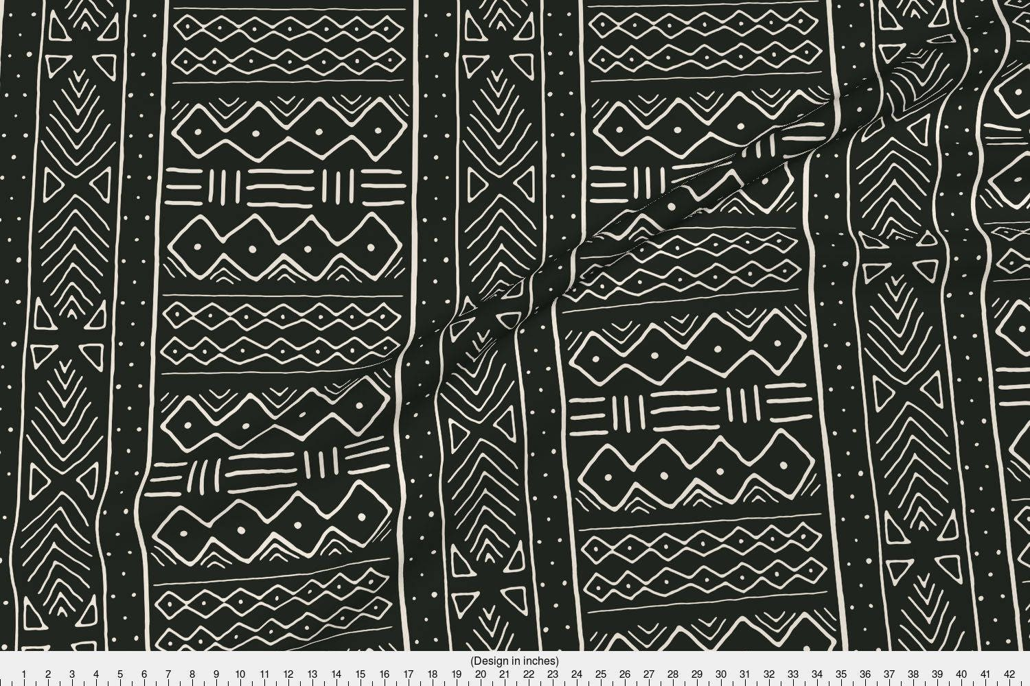 African Fabric Mudcloth In Bone On Black By Domesticate