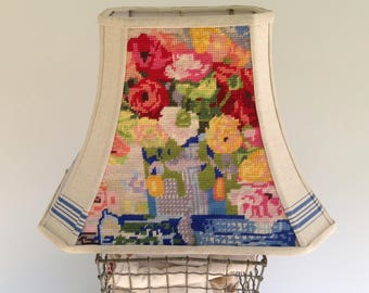 "Needlepoint Floral Lampshade, Table Lamp Shade, Rectangle Bell, 8""t x 16""b x 12"" high, Flowers, Designer Find, One of a kind - a treat!"
