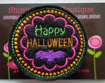 """Girls Hair Accessories - Black, Orange, Purple, Lime Green, And Hot Pink Embroidered Felt """"Happy Halloween"""" Hair Clippie"""