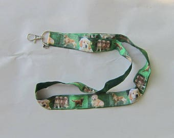 Handmade Grosgrain & Satin Ribbon Dog GOLDEN RETRIEVER Lanyard/Keychain/Badge Holder w/Metal Charm