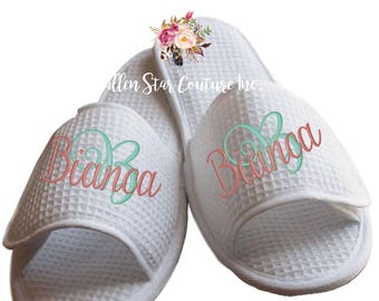 monogrammed spa slippers , bridal party slippers, bridesmaid slippers , bridesmaid gifts , waffle slippers , mother of the bride gifts