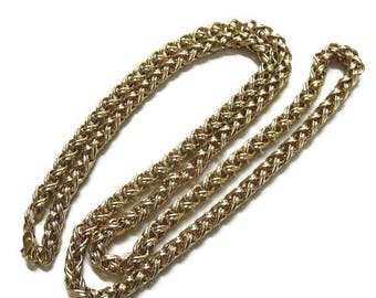Thick Braided Chain Necklace Vintage Gold Tone