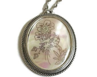 SALE Whiting & Davis Pendant Necklace Etched Bird and Flowers on Mother of Pearl Vintage