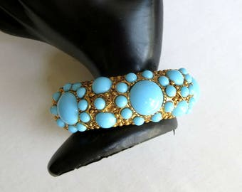 Turquoise Blue Glass Cabochons Hinged Bracelet Vintage Clamper signed Graziano
