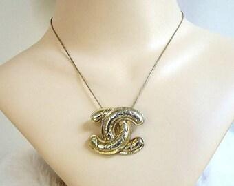 SALE Chanel Signed Logo Pendant Necklace Vintage Repurposed Coco Chanel