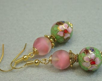 Vintage Chinese Cloisonne RARE Apple Green Dangle Drop Bead Earrings ,Vintage 1950s German Pink Givre Glass, Gold French Ear Wires