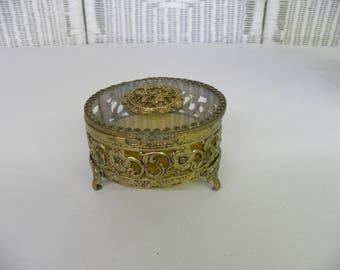 Vintage Jewelry Casket Ormolu Filigree Trinket Box