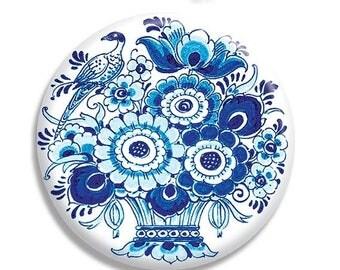 "25% OFF - Delft Dutch Art Flowers Holland Pocket Mirror, Magnet or Pinback Button - 2.25"" MR563"