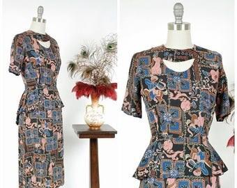 Memorial Weekend Sale - 1940s Vintage Dress - Rare 40s Novelty Print Rayon Dress in Bold Arabian Nights Theme with Peplum in Black, Brown, R