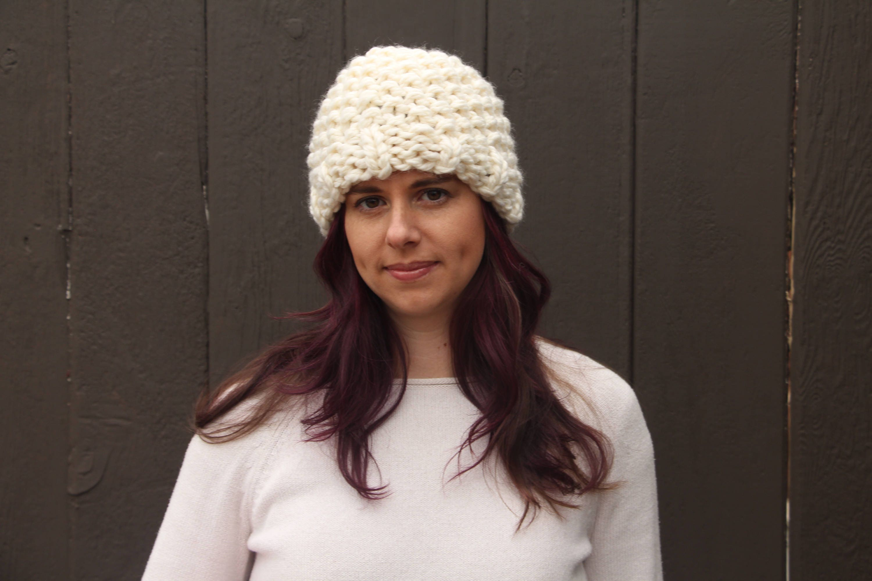 Chunky knit bobbly hat