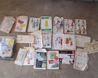 Vintage Sewing Patterns Mixed Lot of 19 patterns /Womens Mens Monograms Lingerie transfers / 1940s - 1970s