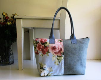 Pale Blue Canvas and Floral Fabric Shoulder Bag with Leather Straps