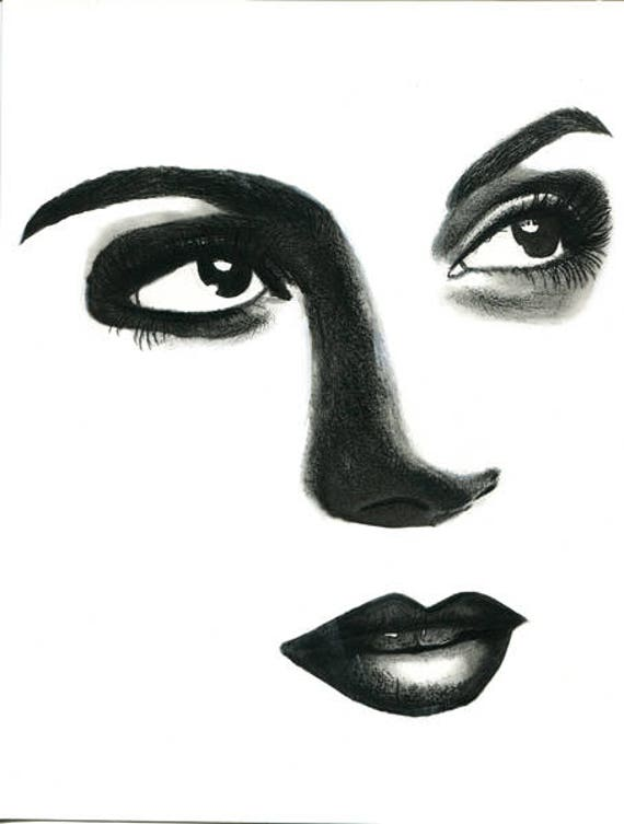 hopeful womans face pencil drawing original art eyes lips portrait art modern black and white artwork Elizavella