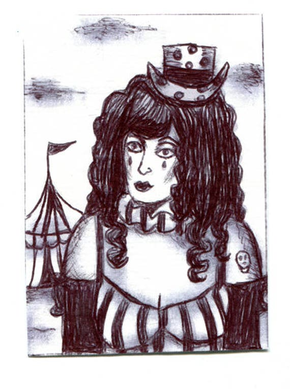 crazy circus freak girl sketch Aceo drawing ORIGINAL art ink illustration art ACEO art card ATC artist trading card Elizavella