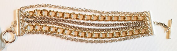 layered chain bracelet gold silver chain links 6 layers metal womens wholesale costume jewelry