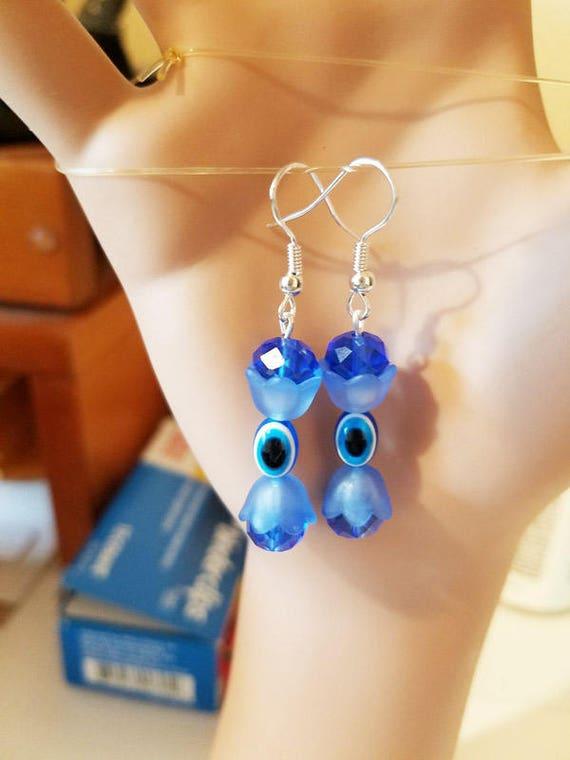 handmade blue evil eye bead drop flower earrings halloween earrings goth punk dangles glass acrylic beaded handmade jewelry