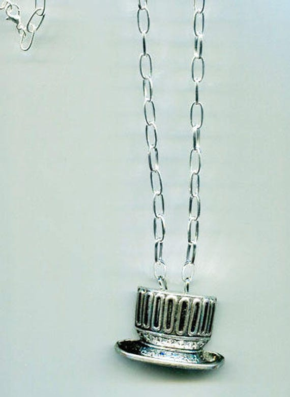 patriotic top hat pendant silver chain long necklace handmade jewelry unisex mens womens