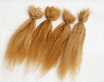 "Suri Alpaca Doll Hair dyed and combed locks, golden blond Batik, 8-10"" for reroot and BJD doll wigmaking, 14 g"