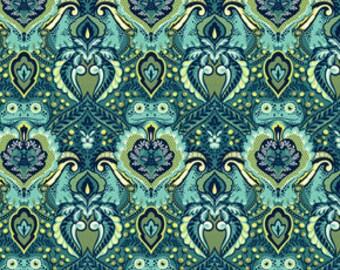 Tula Pink Prince Charming Frog Prince Indigo Fat Quarter (FQ), VHTF OOP fabric, destash, rare, blue green turquoise, new washed no shrinkage