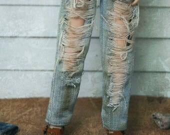 Jiajia Doll Vintage big ripped style Jeans in sky wahsed color fit momoko blythe azone misaki jerryberry yosd